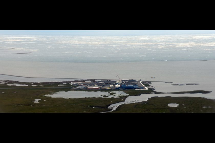A 55-acre gravel pad serves as foundation for the Point Thomson Project. Construction continues on Thursday, July 31, 2014, along the Beaufort Sea  on the North Slope. (Erik Hill / Alaska Dispatch News)