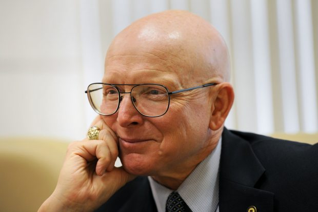 Admiral Robert Papp, U.S. Special Representative for the Arctic, awaits a meeting in the Alaska Office of International Trade on Monday afternoon, August 18, 2014, at the Atwood Building in downtown Anchorage. (Erik Hill / Alaska Dispatch News)