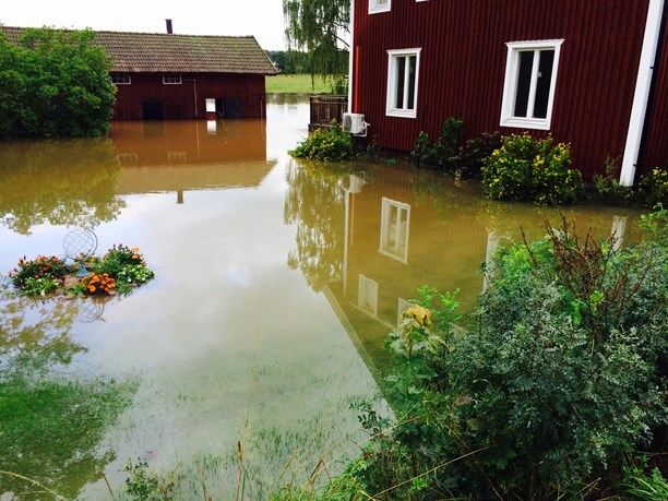 Flooding in Kristinehamn. (Björn Söderholm / P4 Värmland / Radio Sweden)