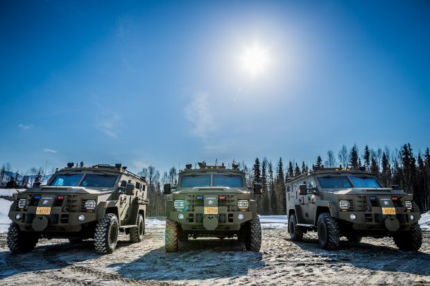 These Tactical Response Vehicles known as Bearcats were acquired by the Alaska State Troopers in 2013. (Loren Holmes / Alaska Dispatch)