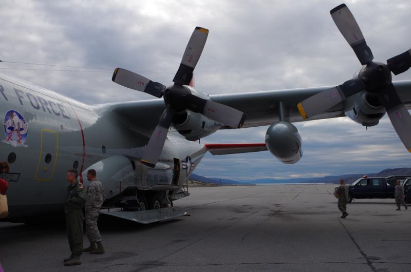 Our C-130 arrives in Kangerlussuaq, Greenland. (Mia Bennett, August 2014)