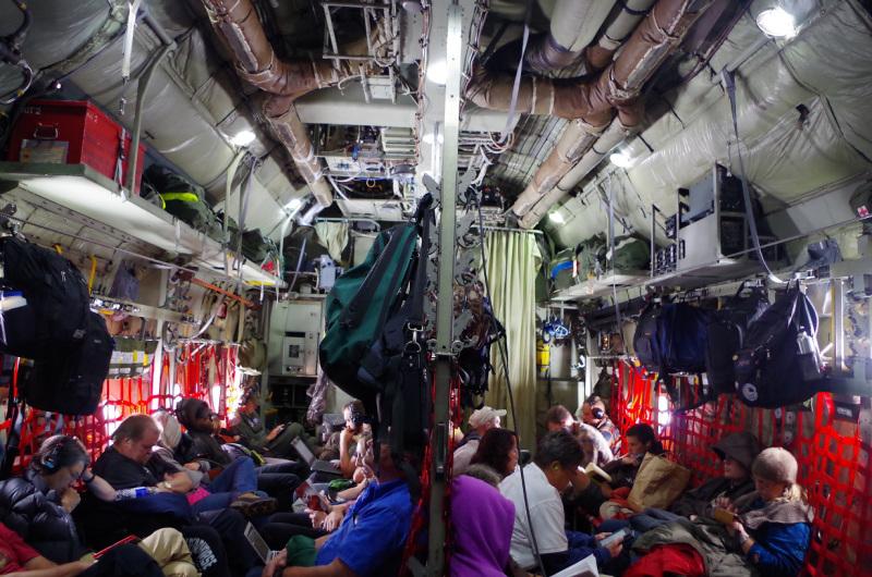 Passengers on board the C-130. ( Mia Bennett, August 2014)