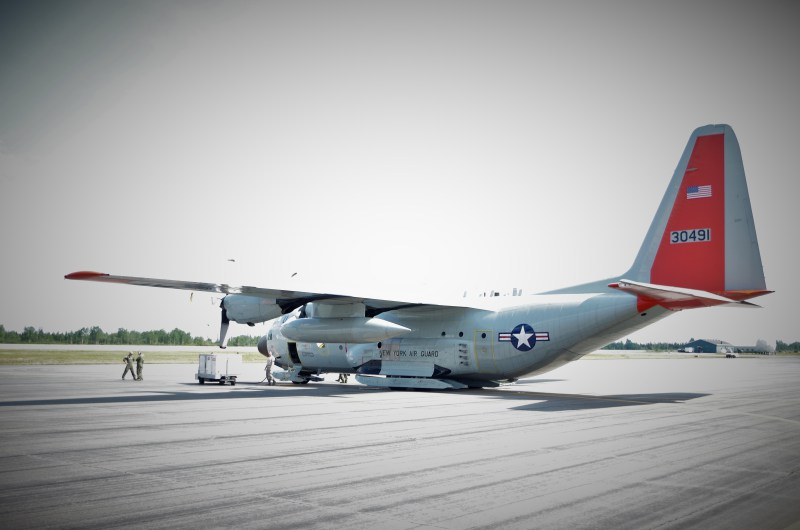 Our C-130 refueling in Goose Bay, Labrador, Canada. (Mia Bennett, August 2014)