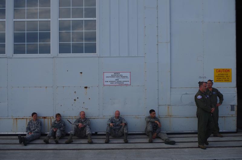 U.S. Air National Guardsmen taking a break in Goose Bay, Labrador, Canada. (Mia Bennett, August 2014)
