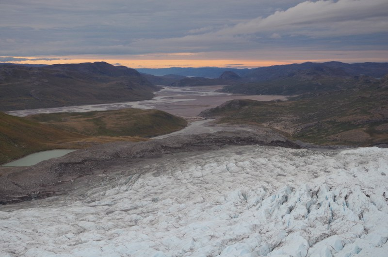 The view above the crevasse fields at the edge of the Russell Glacier above Kangerlussuaq, Greenland. ( Mia Bennett / August 2014)