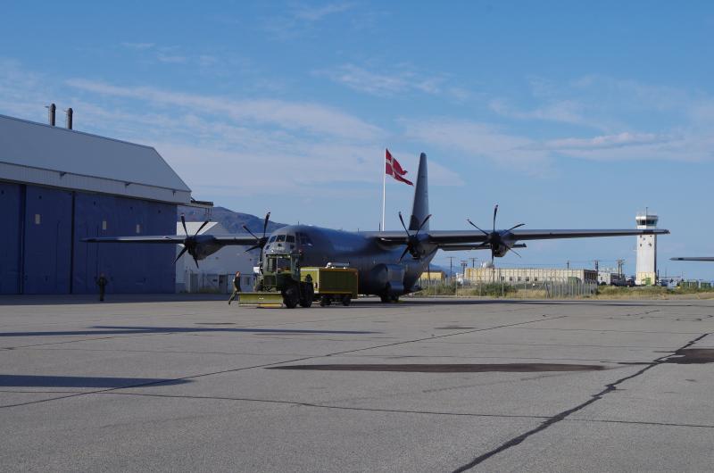 Royal Danish Air Force C-130 in Kangerlussuaq. (Mia Bennett, August 2014)