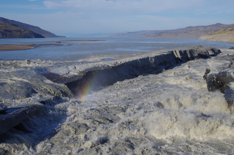 The Watson River right after it passes under the bridge from Kangerlussuaq, flowing out into the fjord towards the sea. ( Mia Bennett / August 2014)