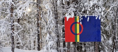The Sami flag. (Jonathan Nackstrand / AFP)