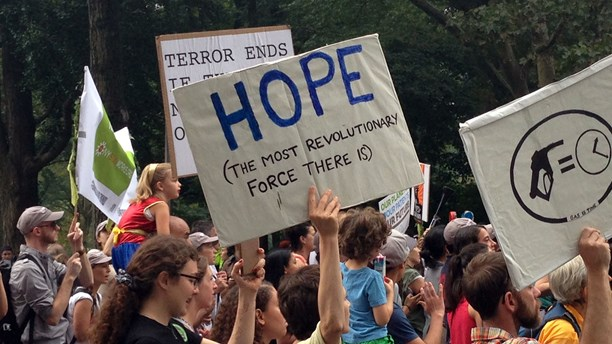 The UN conference was preceded by demonstrations across the globe. (Agneta Furvik/Sveriges Radio)