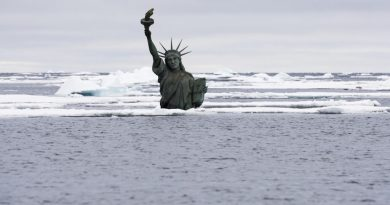 US icon sinking in melting ice? The photo was taken in the Arctic Ocean northwest of Svalbard the 7th of September 2014. (Christian Auslund / Greenpeace)