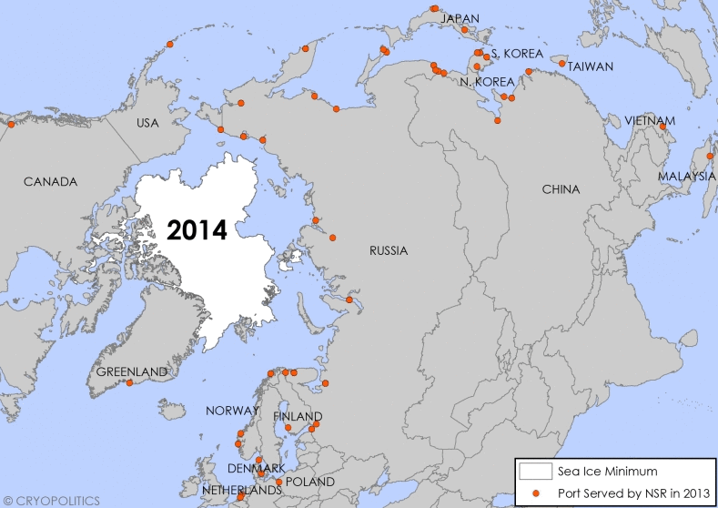 Monthly sea ice extent data from NSIDC, 2014. NSR Port Data from NSR Administration, 2013. (Cryopolitcs)