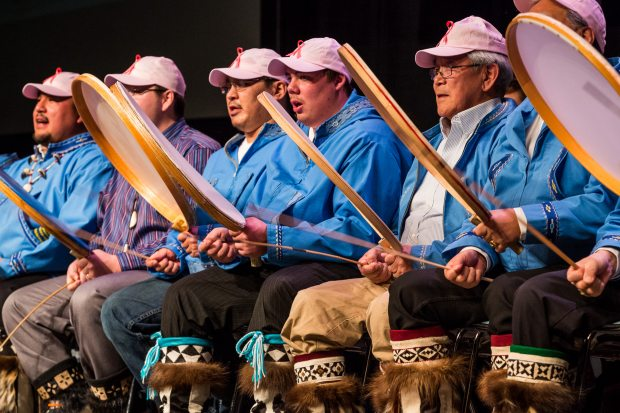 Suurimmaanitchuat, a dance group from Barrow, entertains the audience during the first evening's Quyana, or dance, at the annual Alaska Federation of Natives conference in Fairbanks, Alaska in October 2013.  (Loren Holmes)