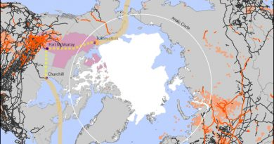 The potential routings of the Arctic Energy Gateway, along with pipelines and railroads in the northern part of the globe. Notice the sheer lack of either infrastructure north of the Arctic Circle. (Cryopolitics)