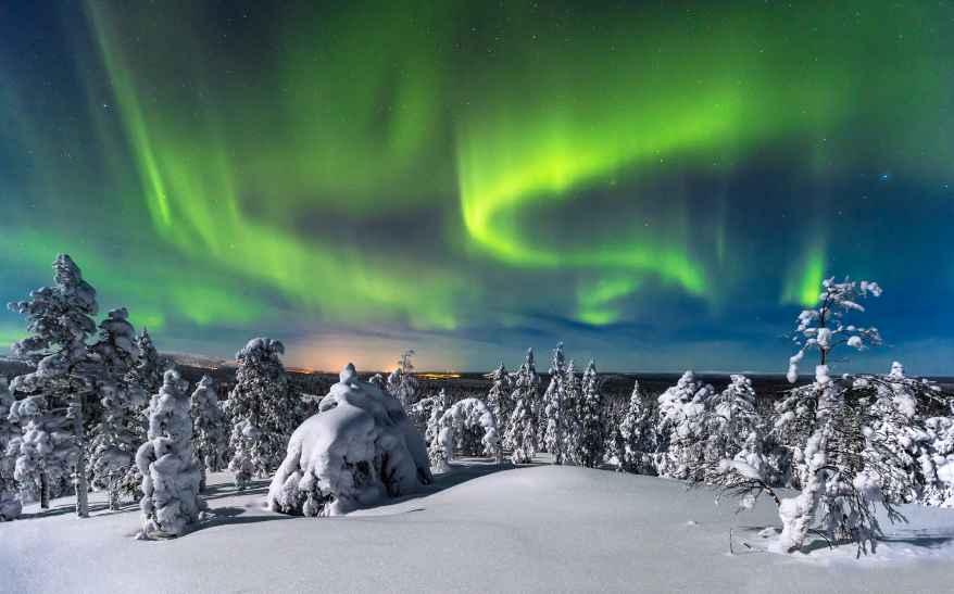 Northern lights over the Pyhae Luosto National Park in northern Finland. (iStock)