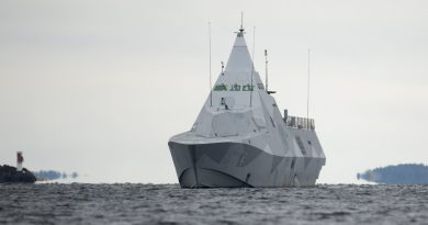 The Swedish corvette HMS Visby under way on the Mysingen Bay on October 21, 2014 on their fifth day of searching for a suspected foreign vessel in the Stockholm archipelago. (Fredrik Sandberg/AFP/Getty Image)