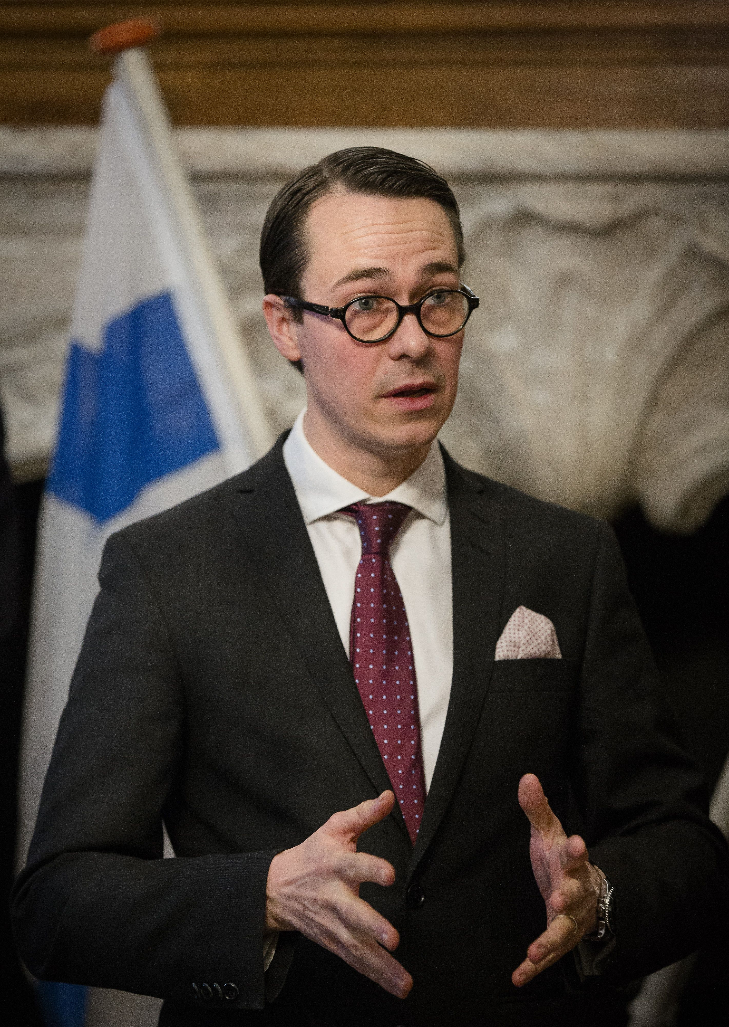 Finnish Minister of Defence Carl Haglund  in January 2014. (Bart Maat /AFP/Getty Images)