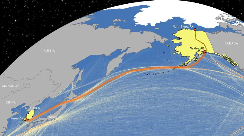 Presumed Route of Polar Discovery tanker carrying oil from Alaska to South Korea. The brown line denotes the Trans-Alaska Pipeline, while lines in the sea denote commercial shipping. Data from the European Commission. (Cryopolitics)