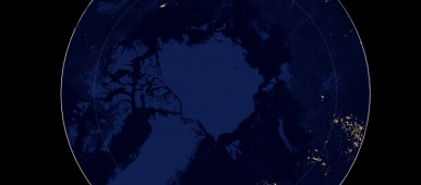 Composite image of night lights above 60°N (with the Arctic Circle also included for reference), as imaged in April and October 2012 with SUOMI NPP's Day/Night Band. (Data downloaded from NASA Earth Observatory / Cryopolitics)