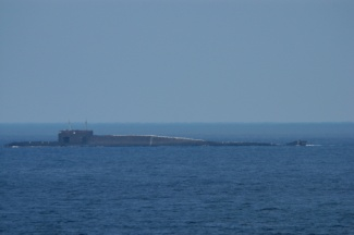 Russian Northern fleet Delta-IV submarine in surface position in the Barents Sea. (Thomas Nilsen / Barents Observer)
