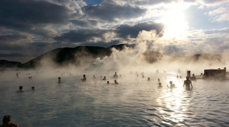 Tourists frolic amidst the geothermal steam of the Blue Lagoon. Reykjavik, Iceland. (Mia Bennett)