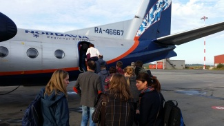 Nordavia have their logo pinted on the back of the plane. (Thomas Nilsen/Barents Observer)