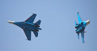 Two Russian Sukhois jets performing in an air show. (iStock)