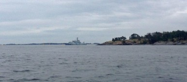 Day four in the hunt for the suspected foriegn sub. Here at Ornö. (Lotta Myhrén/Sveriges Radio)