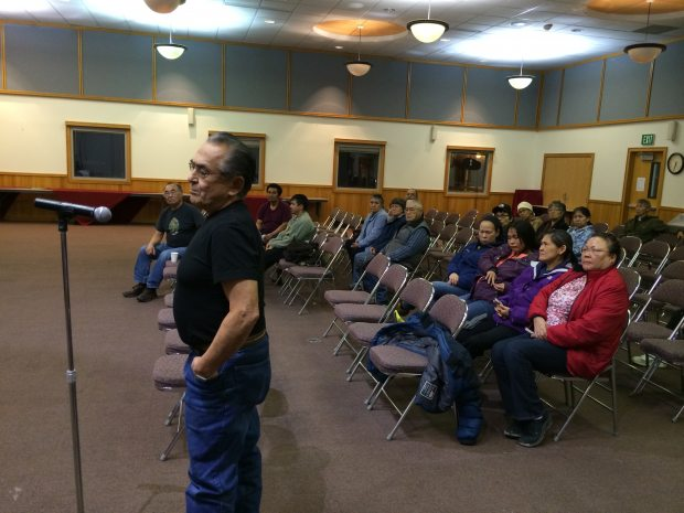 Stanley Hoffman spoke at Calista's shareholder meeting in Bethel on Nov. 12. He said Calista doesn't have the money to support expanding its rolls to descendants. (Lisa Demer / ADN)