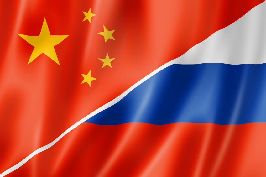 China and Russia flag