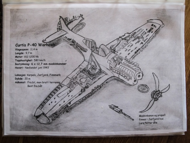 Bjørn Ballo's sketch of the P-40 is only one of many he has made of wrecks, both in their entirety and in small sections. (Jimmy Thomson/Barents Observer)