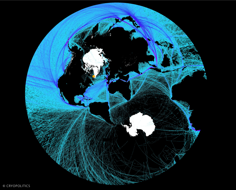A polar stereographic view of global shipping activity. Nuuk is the orange dot. (Cryopolitics)