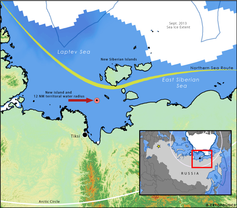 Map of new island's location and Russia's new territorial waters. (Cryopolitics)