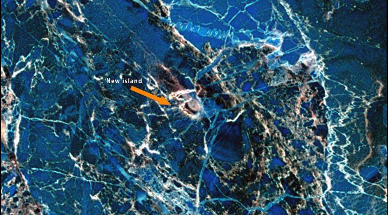 Landsat 8 image taken on June 16, 2013 of new island discovered near Russia. (NASA)