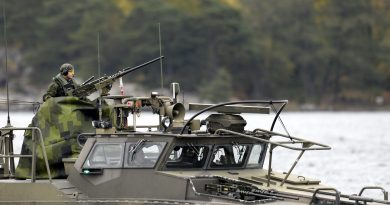 A Swedish Navy fast-attack craft patrols in the the Stockholm Archipelago, Sweden, on October 18 2014. (Pontus Lundahl/AFP/Getty Images)