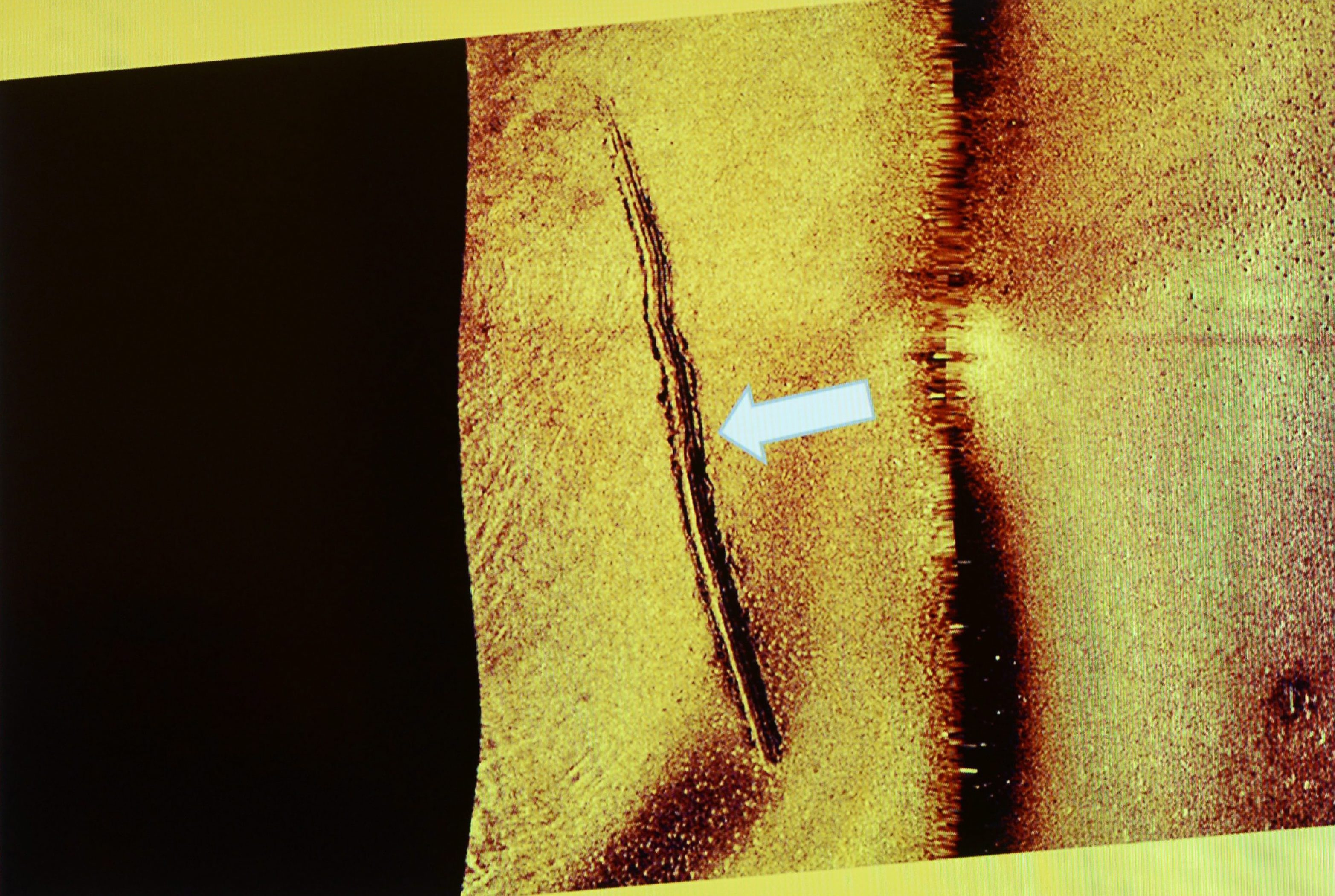 A photo of a sonar image made available by the Swedish military which they say shows sub-sea tracks left behind by a mini-submarine. (Swedish Armed Forces/AP)
