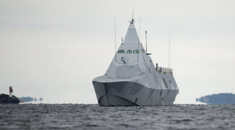 The Swedish corvette HMS Visby under way on the Mysingen Bay on October 21, 2014 on their fifth day of searching for a suspected foreign vessel in the Stockholm archipelago. (Fredrik Sandberg/AFP/Getty Images)