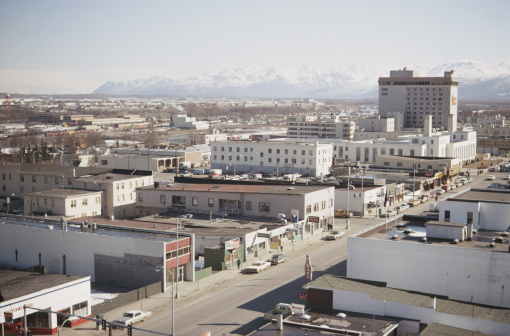 A view of Anchorage from the Captain Cook Hotel, April 1970. (Archive Photos/Getty Images)