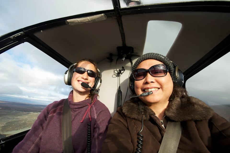 Helicopter pilot Abigail Seaver (left) of Tanalian Aviation, is inspiring Alaskan kids to soar.