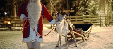 Santa Claus walks with his Reindeer and sled in Rovaniemi, Finland on December 16, 2008. (Olivier Morin/AFP/Getty Images)