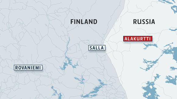 Map of northern Finland indicating Rovaniemi, the Finnish border city of Salla and the Russian city of Alakurtti.(Yle/Uutisgrafiikka)