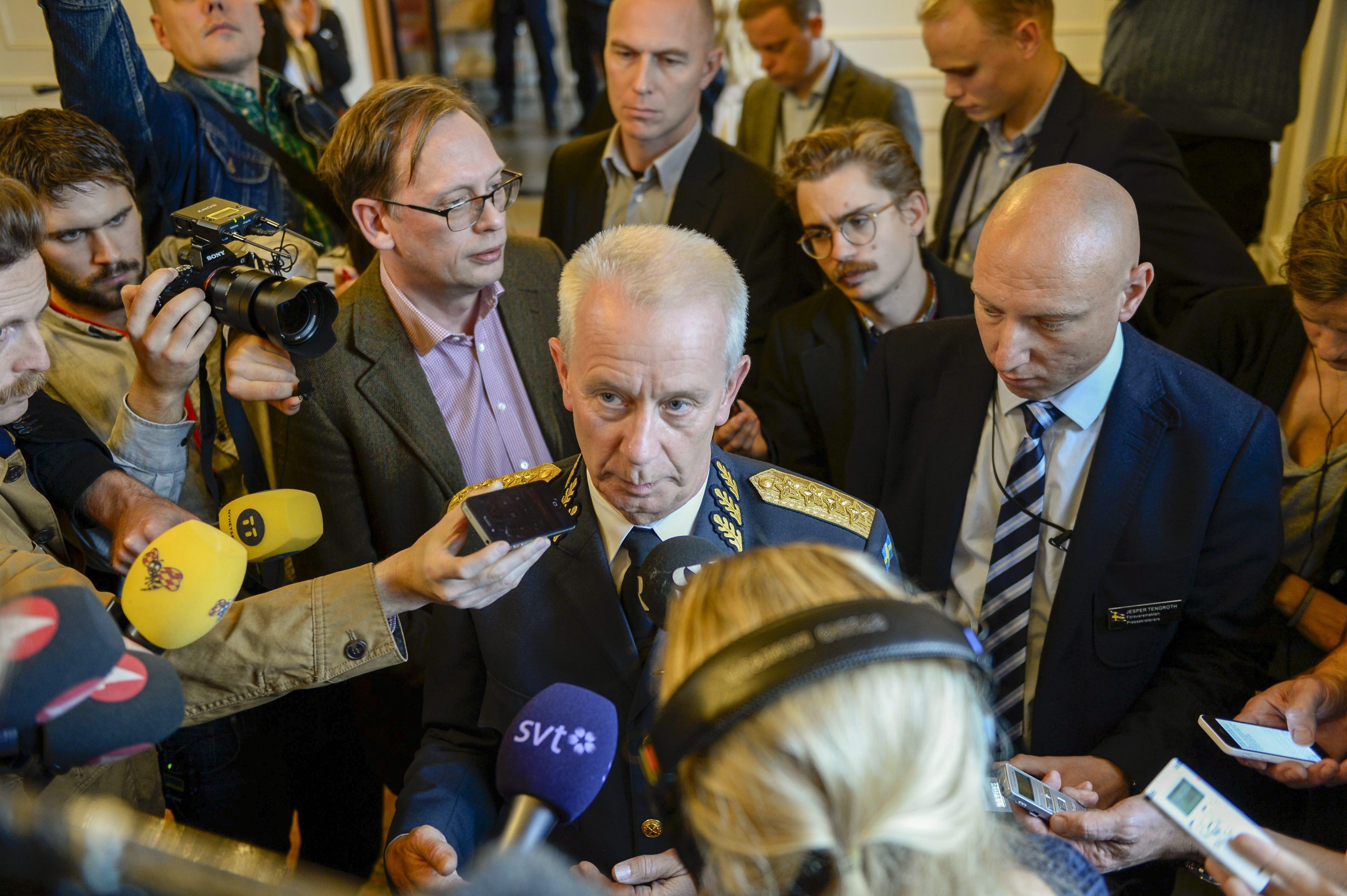 Swedish Commander-in-Chief Sverker Goransson talks to media on October 21, 2014. (Pontus Lundahl /AFP/Getty Images)