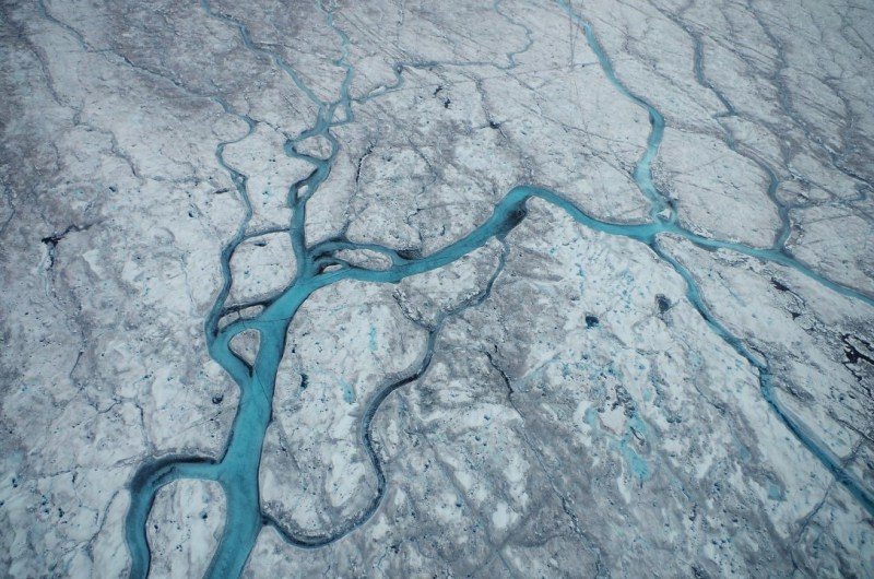 Rivers and cryoconite on top of the Greenland ice sheet. (Mia Bennett)