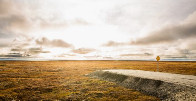 A subdivision on the outskirts of Kaktovik looks into the Arctic National Wildlife Refuge's 1002 coastal plain. Sept. 10, 2012. (Loren Holmes/Alaska Dispatch)