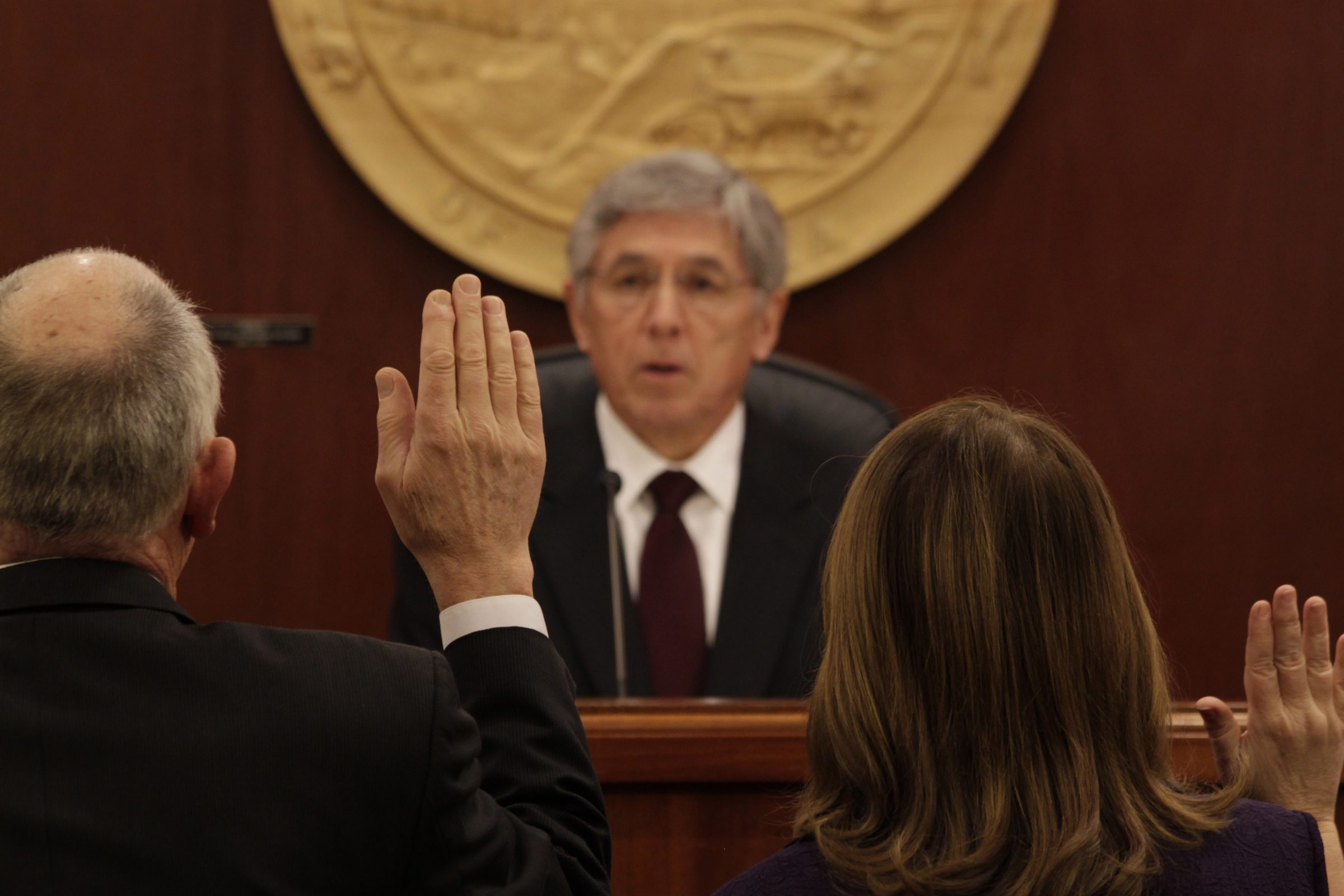 Lt. Gov. Byron Mallott issues the oath of office to members of the Alaska House of Representatives on Tuesday, Jan. 20, 2015 during the opening of the 29th Alaska Legislature. (James Brooks/Juneau Empire/AP Photo)