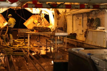 Plenty cleaning to be done on the trawl deck. (Irene Quaile)