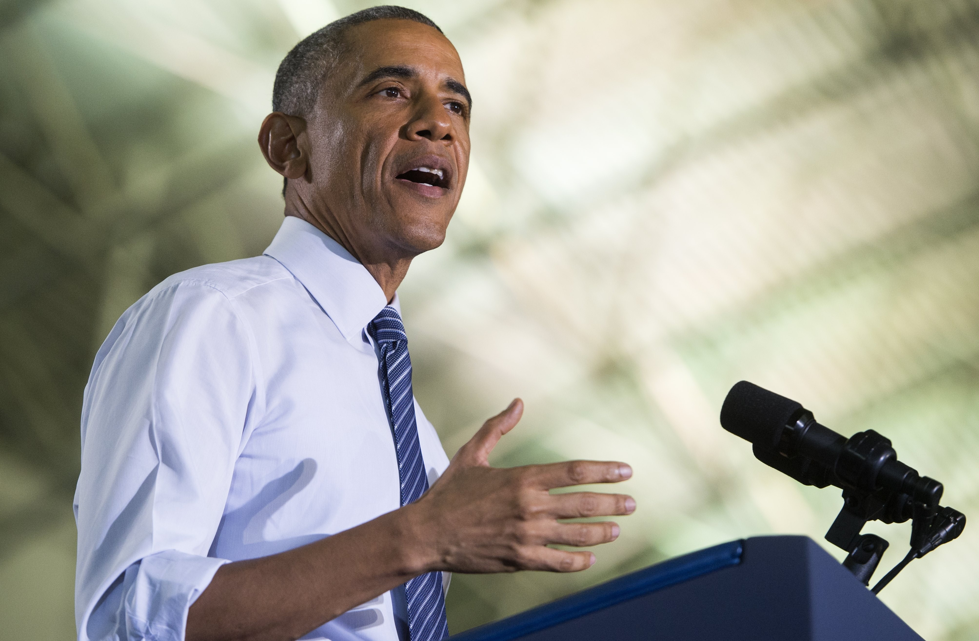 US President Barack Obama speaks  at Boise State University in Boise, Idaho on January 21, 2015. (Saul Loeb /AFP/Getty Images)
