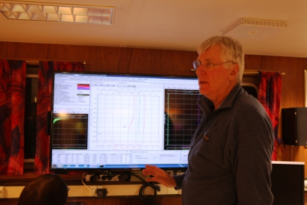 Cruise leader Stig Falk Petersen in the instruments room of the Helmer Hanssen. (Irene Quaile)