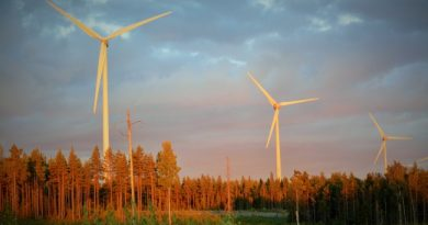 Wind mills outside Umeå in Västerbotten, Sweden. (Thomas Nilsen/Barents Observer)