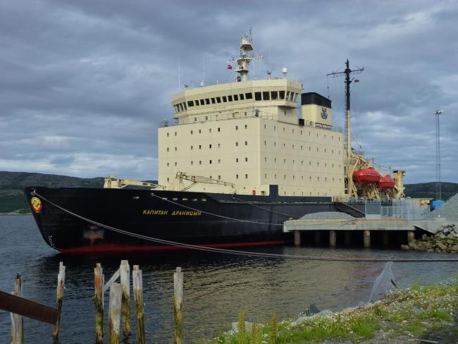 "The icebreaker ""Kapitan Dranitsyn"" used Kirkenes as base before taking part in shelf studies for the UN claim in 2012. (Photo: Trude Pettersen)"