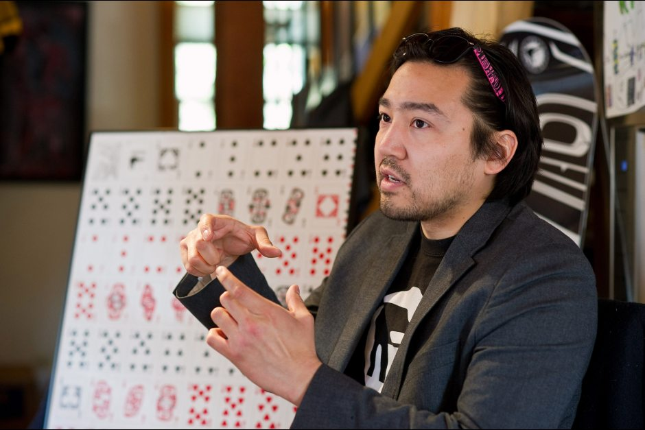 In this May 7, 2014 file photo, Rico Worl speaks in Juneau about opening a new shop which will feature his designs based on Southeast Alaska Indian culture. Worl's business has benefited from Haa Aani's Community Development Fund. Michael Penn / AP